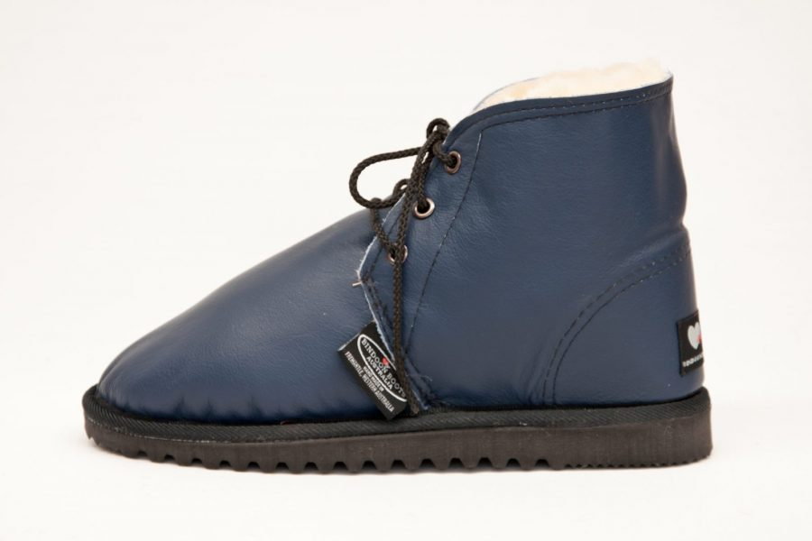 Navy/Nat/Black Leather Covered Desert Boots