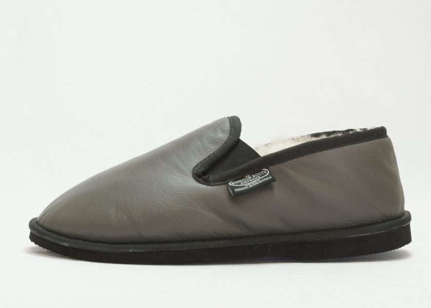 Grey black leather covered Loafer