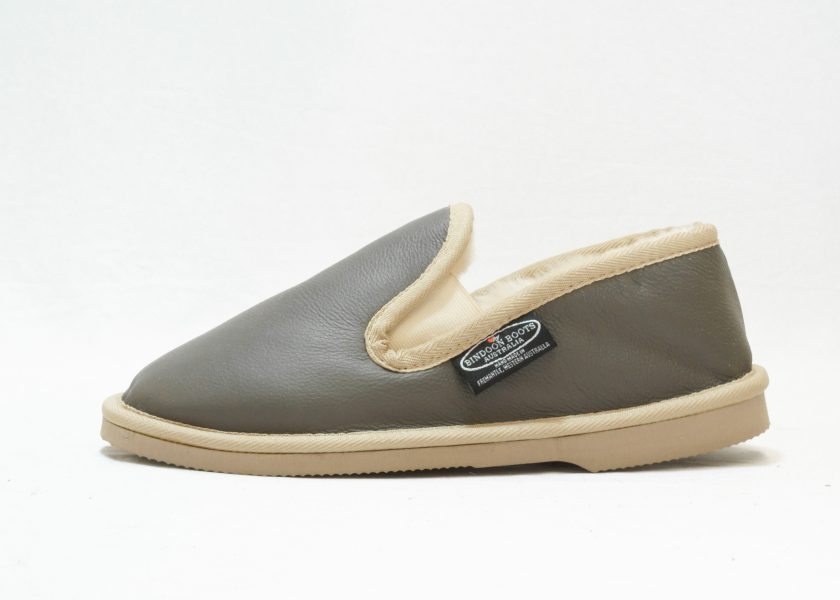 Grey sand leather covered Loafer