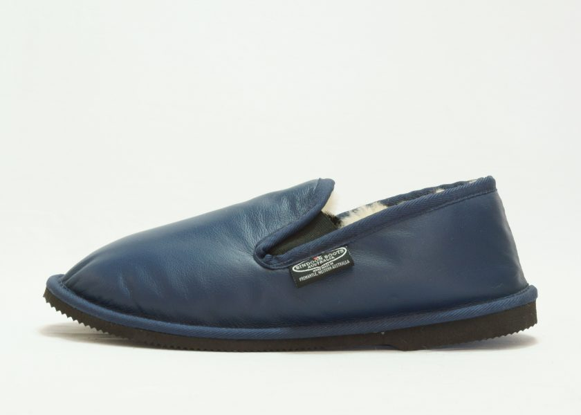 Navy black leather covered Loafer