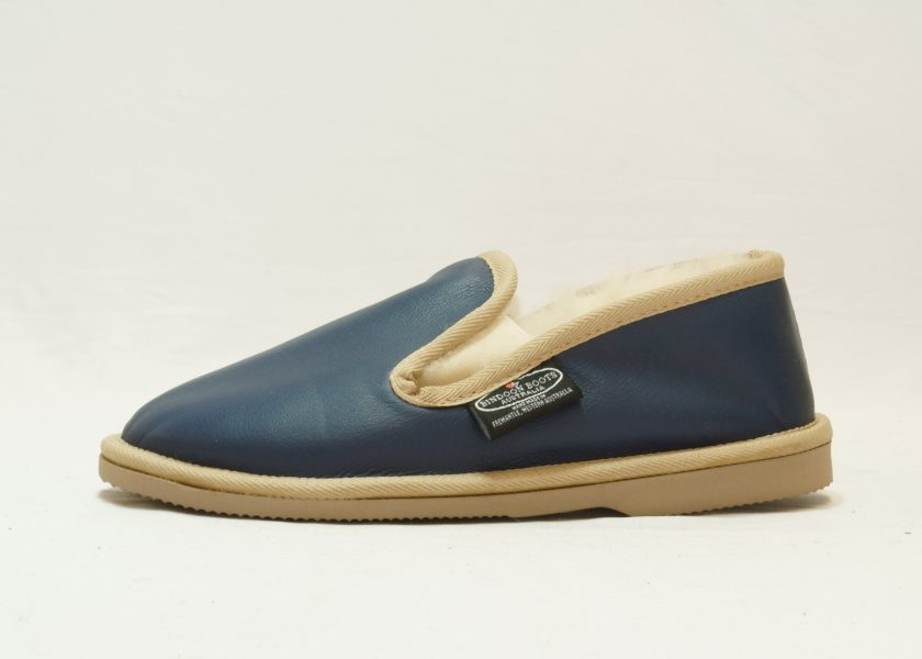 Navy sand leather covered Loafer