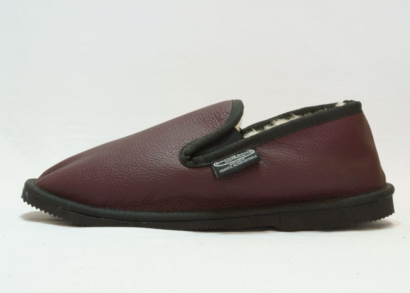 Plum black leather covered Loafer