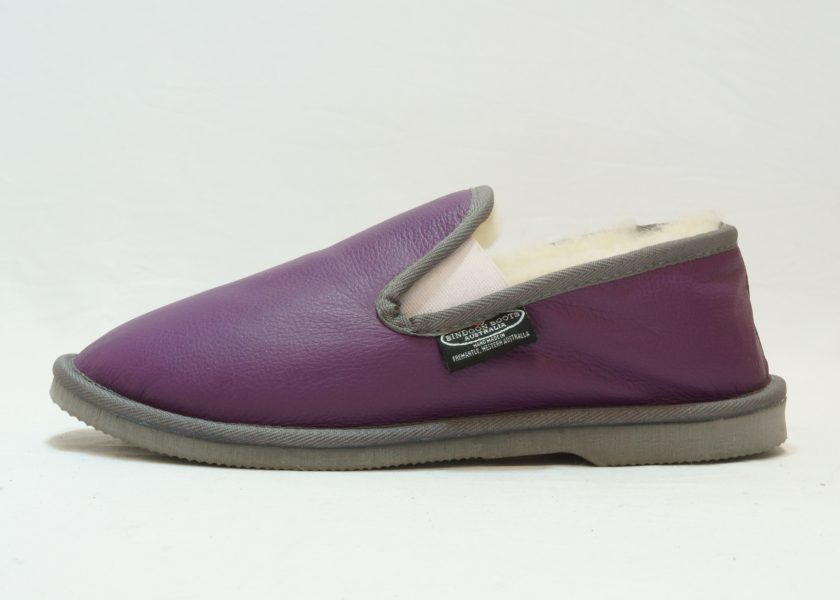 Purple grey leather covered Loafer